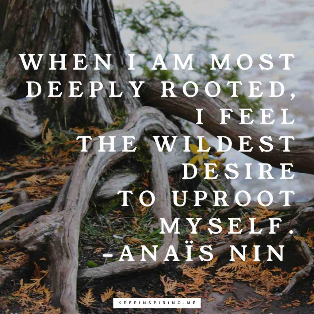 """""""When I am most deeply rooted, I feel the wildest desire to uproot myself"""""""