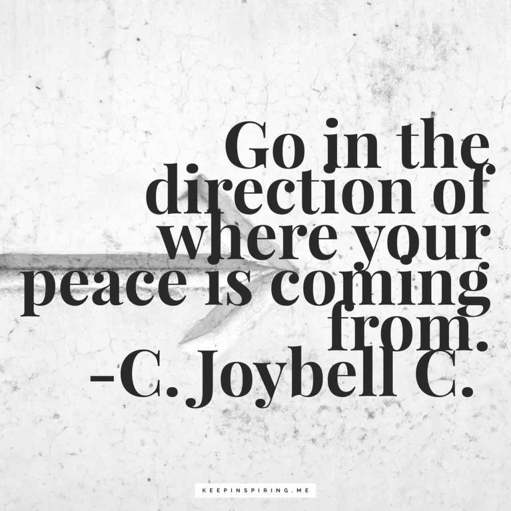 "Peace quote ""Go in the direction of where your peace is coming from"""