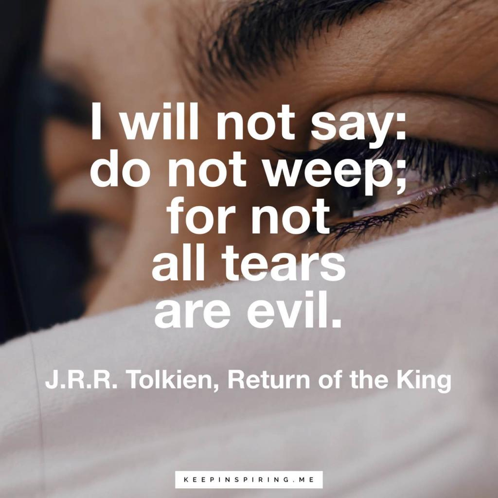 "Tolkien quote ""I will not say: do not weep; for not all tears are evil"""