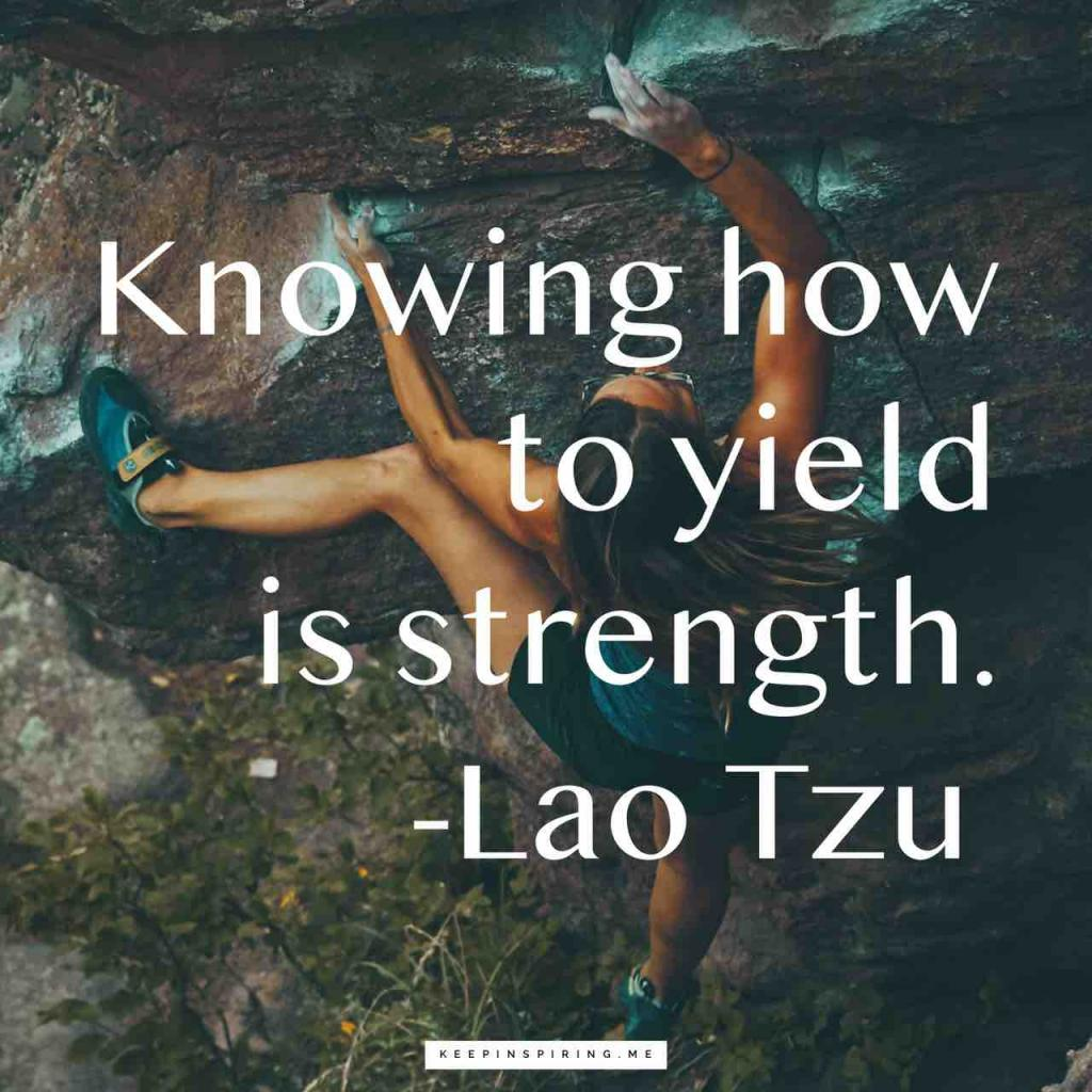 "Taoism quote ""Knowing how to yield is strength"""