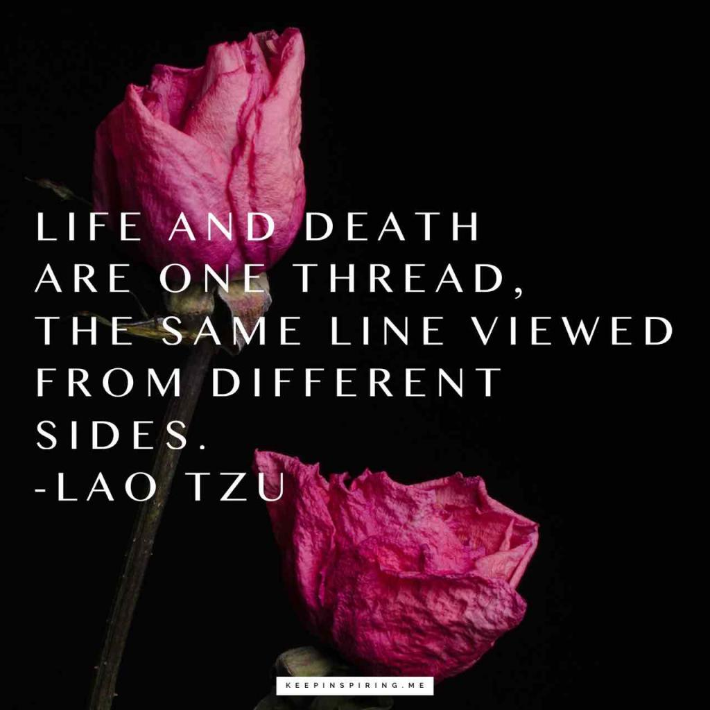 """Life and death are one thread, the same line viewed from different sides"""