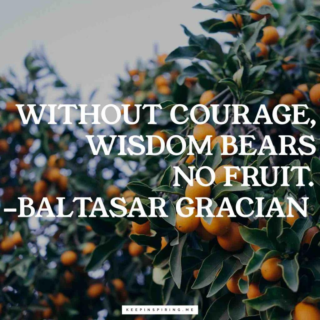 "Baltasar Gracian courage quote ""Without courage, wisdom bears no fruit"""