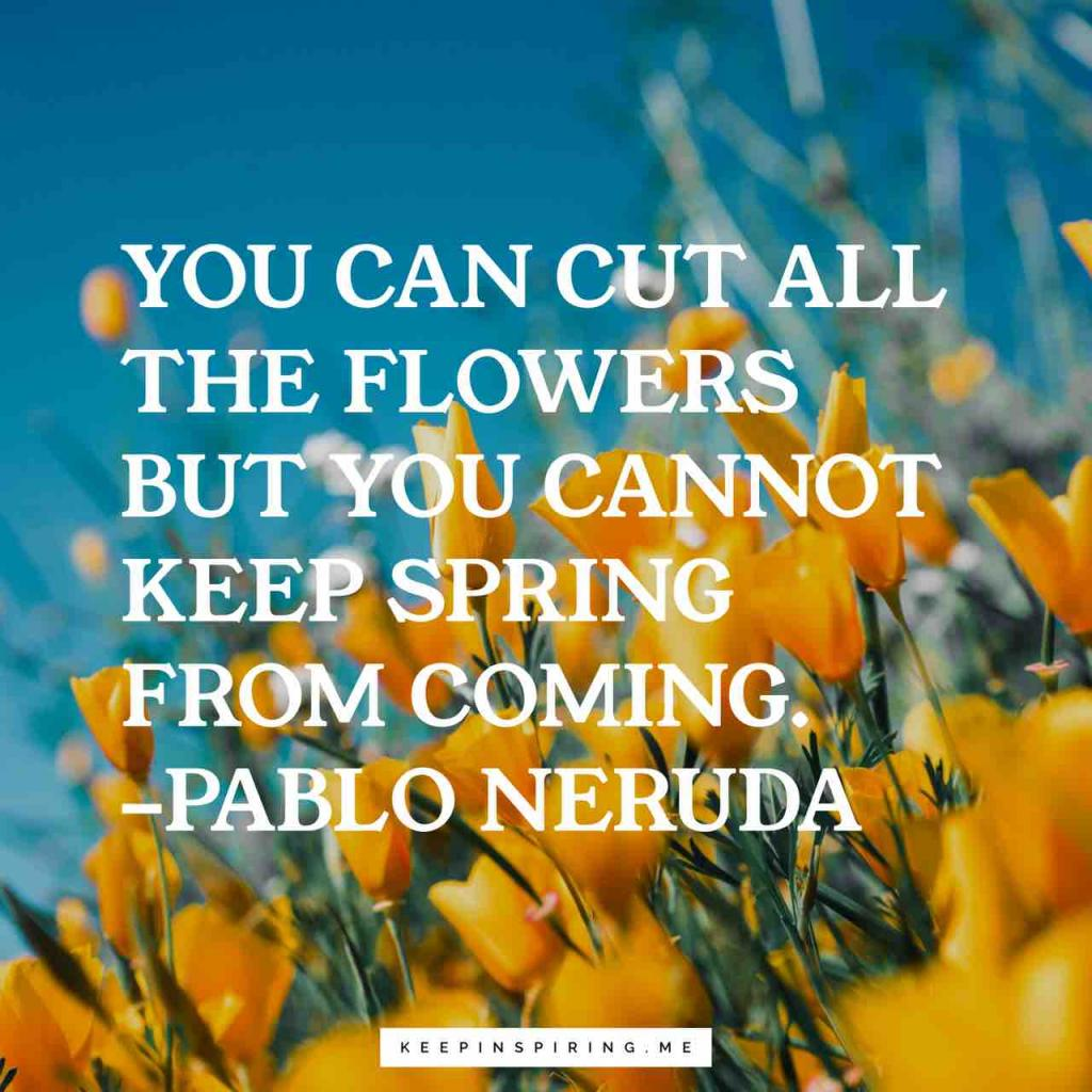 """Pablo Neruda quote """"You can cut all the flowers but you cannot keep Spring from coming"""""""