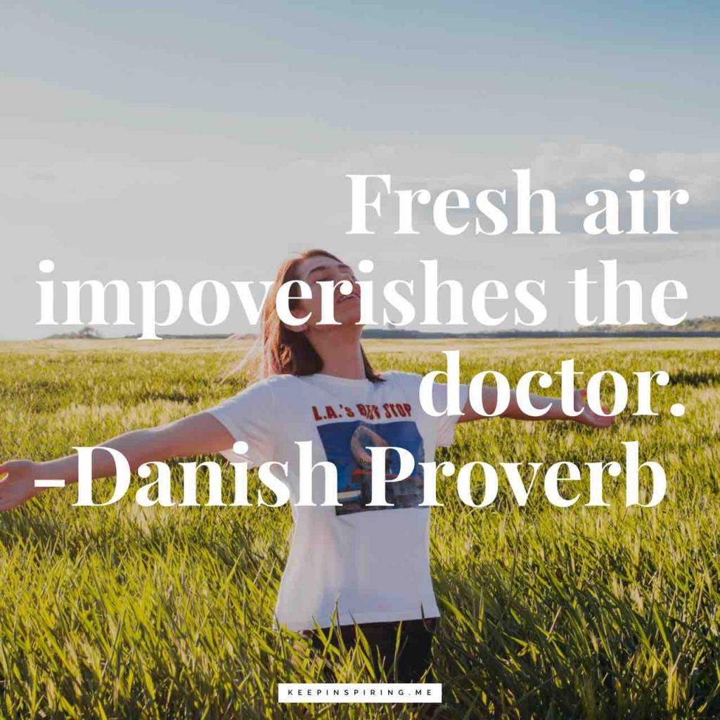 "Danish health proverb ""Fresh air impoverishes the doctor"""