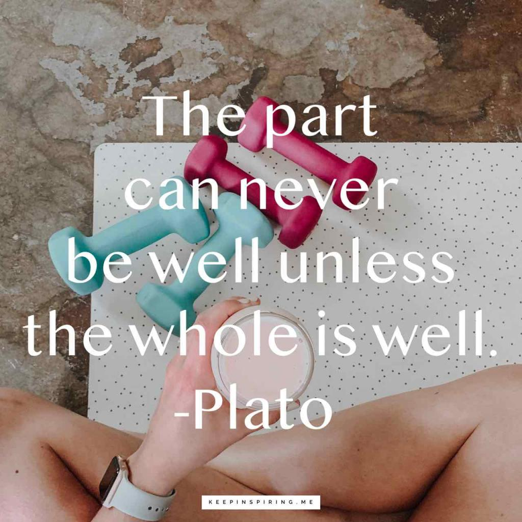 "Plato health quote ""The part can never be well unless the whole is well"""