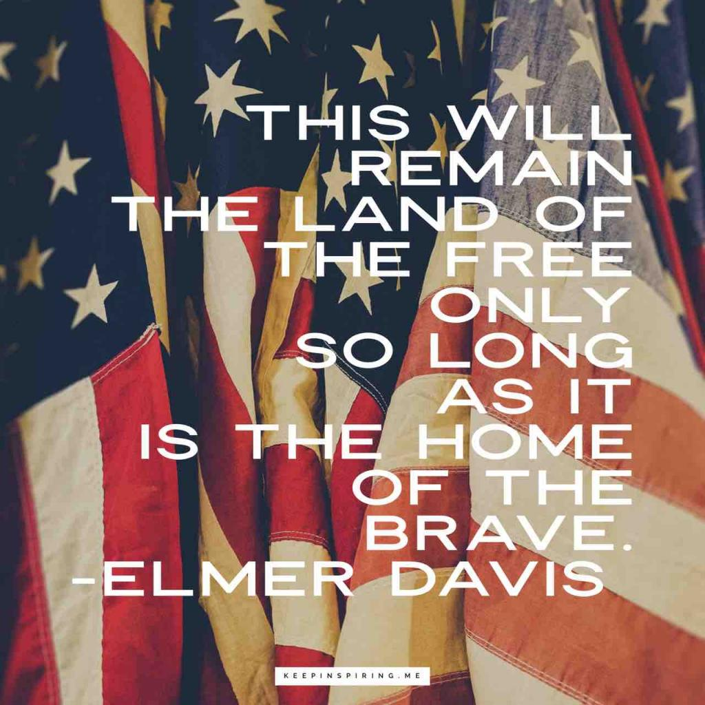 "Veterans Day quote ""This will remain the land of the free only so long as it is the home of the brave"""