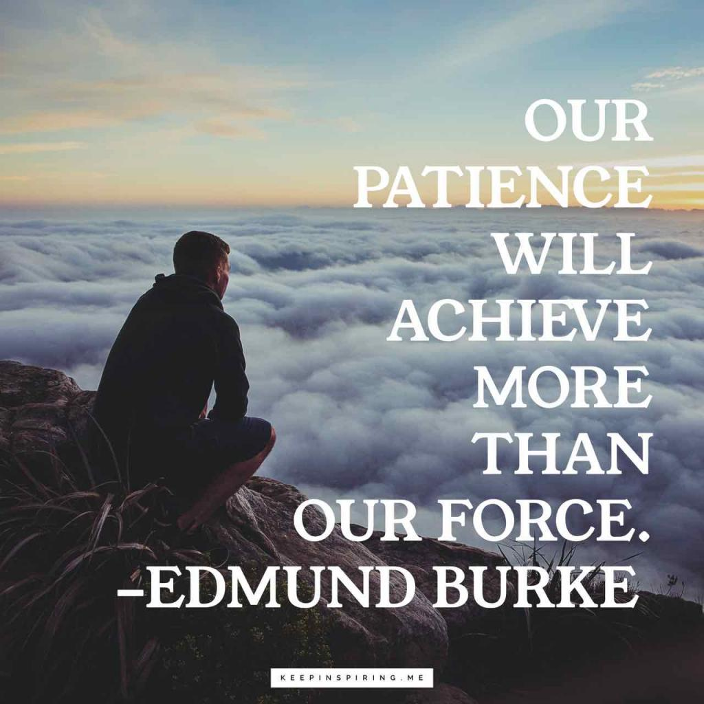 "Edmund Burke patience quote ""Our patience will achieve more than our force"""