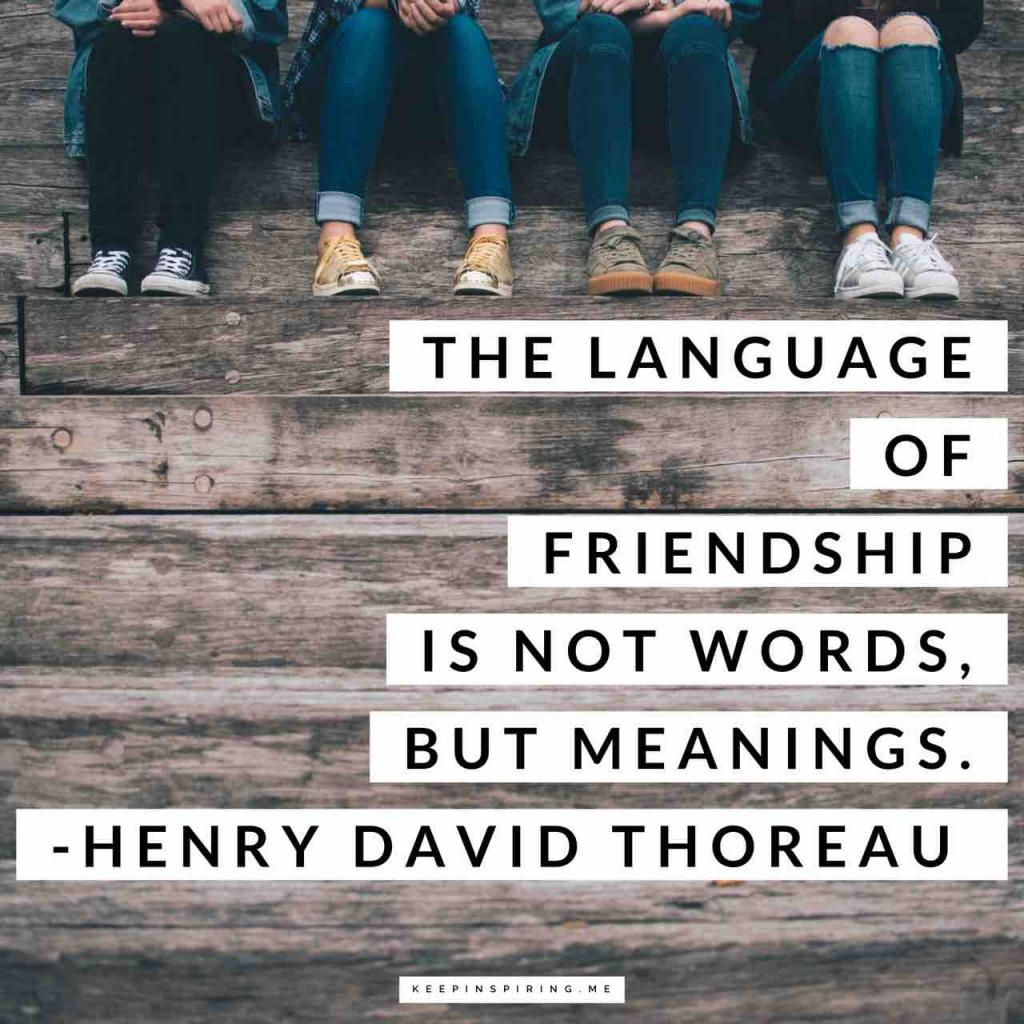 """Thoreau quote """"The language of friendship is not words, but meanings"""""""