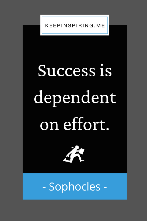"""Sophocles quote """"Success is dependent on effort"""""""