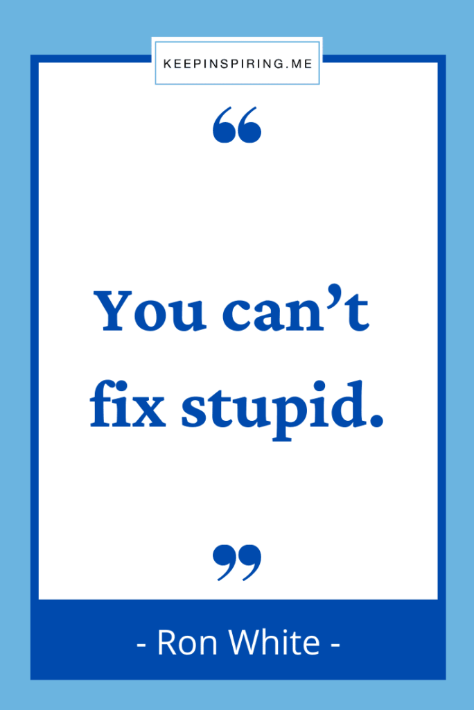 """Ron White funny quote """"You can't fix stupid"""""""