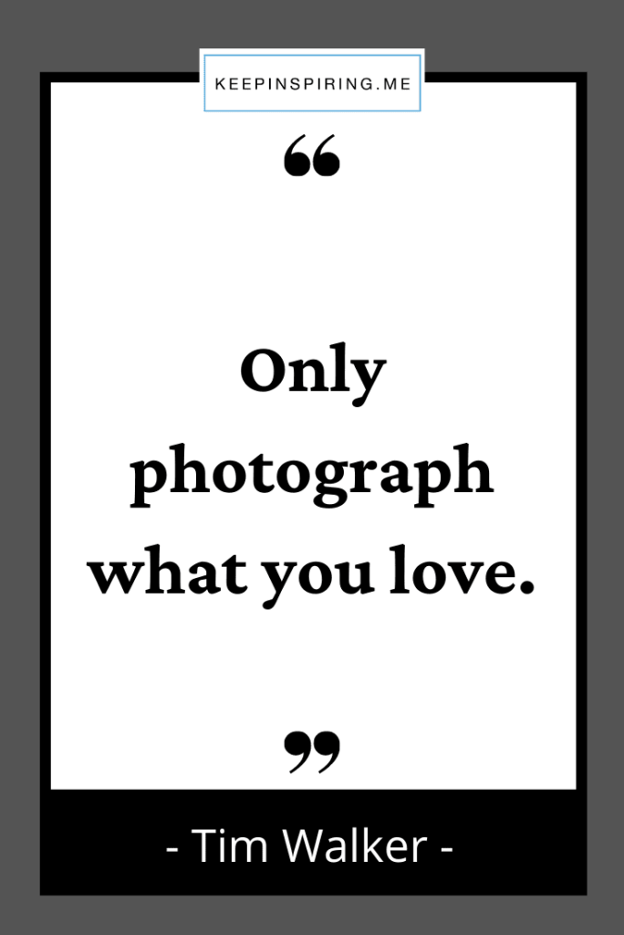 """Tim Walker photography quote """"Only photograph what you love"""""""